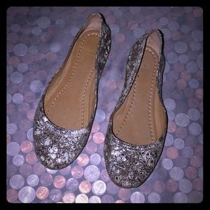 Frye Carson Ballet Crackled Leather Flats
